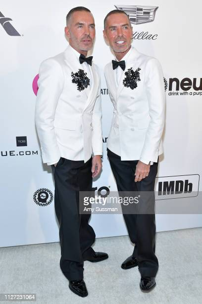 Dean and Dan Caten attend the 27th annual Elton John AIDS Foundation Academy Awards Viewing Party celebrating EJAF and the 91st Academy Awards on...
