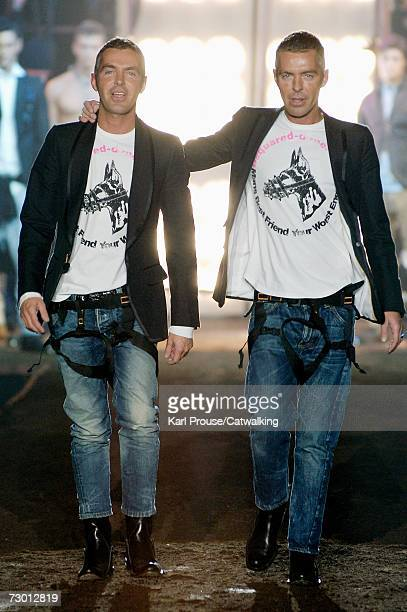 Dean and Dan Caten walk down the catwalk after the Dsquared2 fashion show as part of Milan Fashion Week Autumn/Winter 2007 on January 16 2007 in...