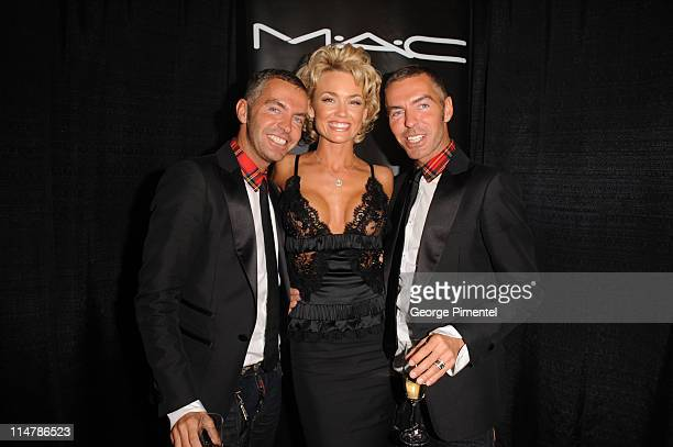 Dean and Dan Caten with Actress Kelly Carlson attend the M.A.C GOLD FEVER AFTER PARTY at the Chum/City Buildiing on September 7, 2008 in Toronto,...