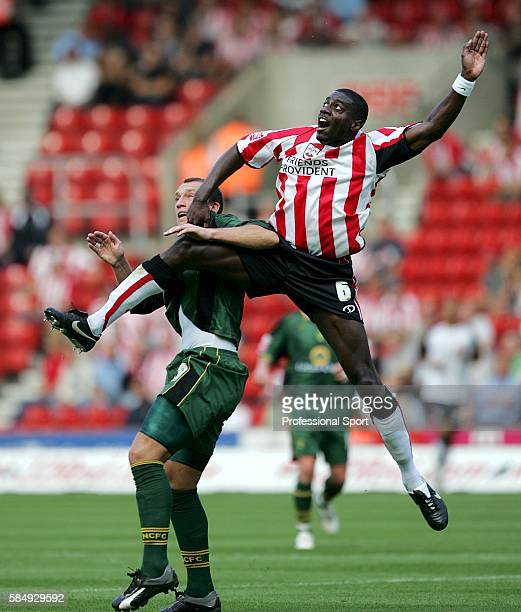 Dean Ashton of Norwich City tussles for posession with Darren Powell of Southampton during the Coca-Cola Championship match between Southampton and...