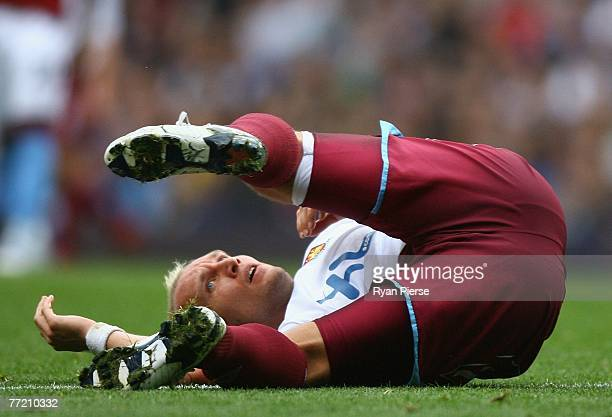 Dean Ashton of West Ham looks on during the Barclays Premier League match between Aston Villa and West Ham United at Villa Park on October 6 2007 in...