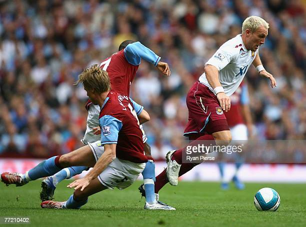 Dean Ashton of West Ham wins the ball during the Barclays Premier League match between Aston Villa and West Ham United at Villa Park on October 6...