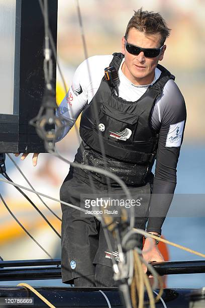 Dean Barker competes with team Emirates New Zealand in Match Race Qualifiers during the third day of America's Cup World Series on August 10 2011 in...