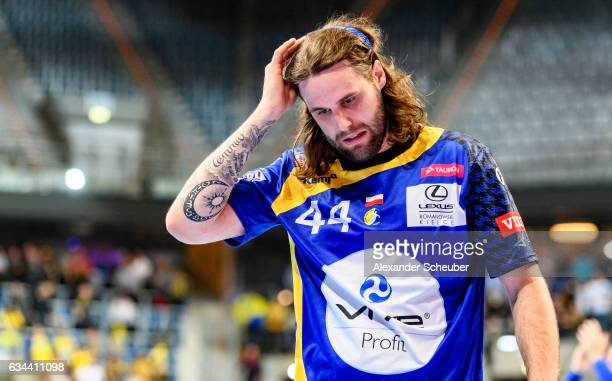 Dean Bombac of Tauron Kielce is disappointed during the EHF Men's Champions League Group Phase game between RheinNeckar Loewen and KS Vive Tauron...