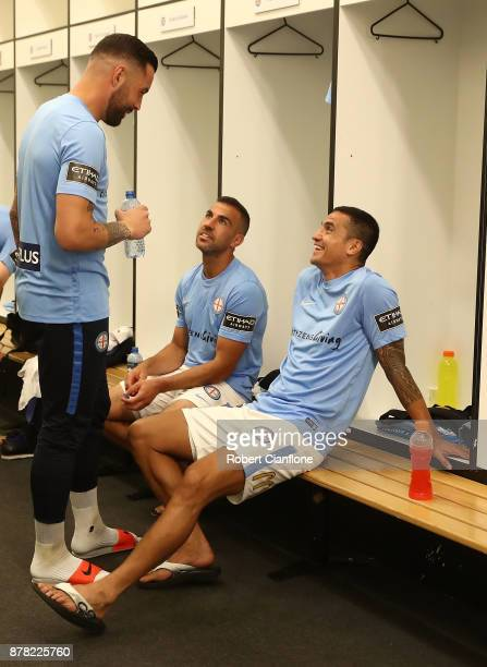 Dean Bouzanis Manny Muscat and Tim Cahill of the City prepare for the round eight ALeague match between Melbourne City and Perth Glory at AAMI Park...