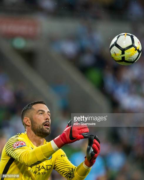 Dean Bouzanis of Melbourne City collects the ball after an attempt at goal during Round 12 of the Hyundai ALeague Series between Melbourne City and...