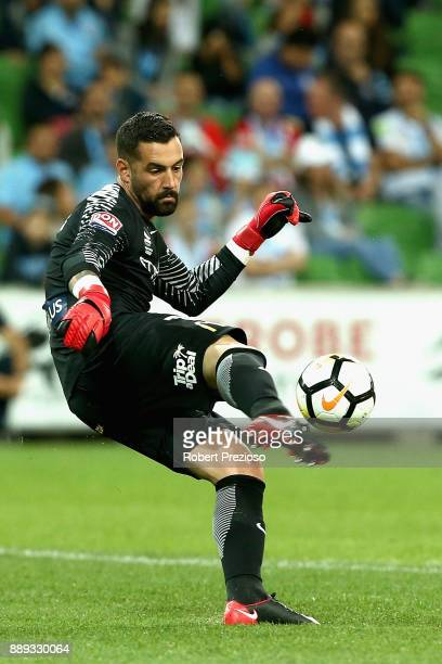 Dean Bouzanis of Melbourne City FC kicks during the round 10 ALeague match between Melbourne City FC and the Central Coast Mariners at AAMI Park on...