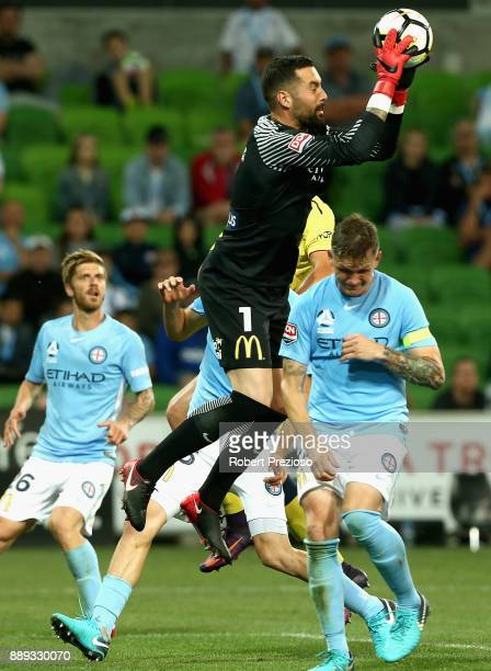 Dean Bouzanis of Melbourne City FC makes a save during the round 10 ALeague match between Melbourne City FC and the Central Coast Mariners at AAMI...