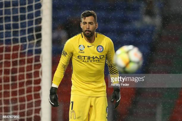 Dean Bouzanis of Melbourne City in action during the round nine ALeague match between the Newcastle Jets and Melbourne City at McDonald Jones Stadium...