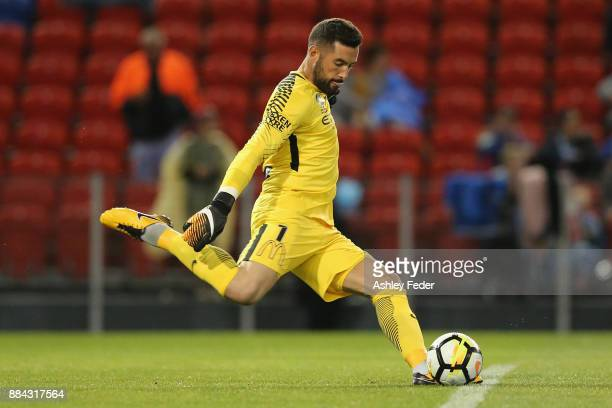 Dean Bouzanis of Melbourne City kicks out from goal during the round nine ALeague match between the Newcastle Jets and Melbourne City at McDonald...
