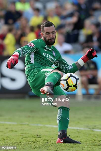 Dean Bouzanis of Melbourne City kicks out from goal during the round 16 ALeague match between the Central Coast Mariners and Melbourne City at...