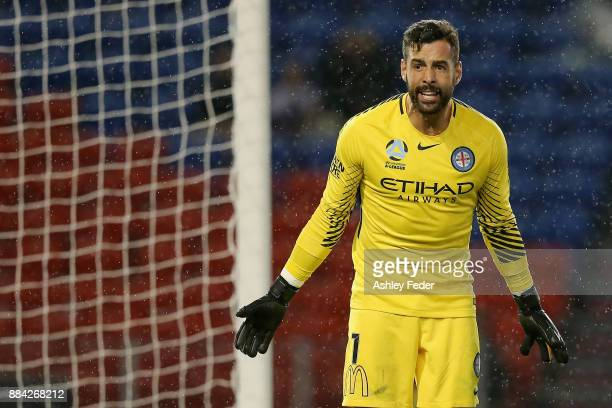 Dean Bouzanis of Melbourne City looks on during the round nine ALeague match between the Newcastle Jets and Melbourne City at McDonald Jones Stadium...