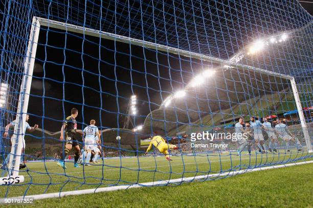 Dean Bouzanis of Melbourne City makes a save during the round 14 ALeague match between Melbourne City and the Wellington Phoenix at AAMI Park on...