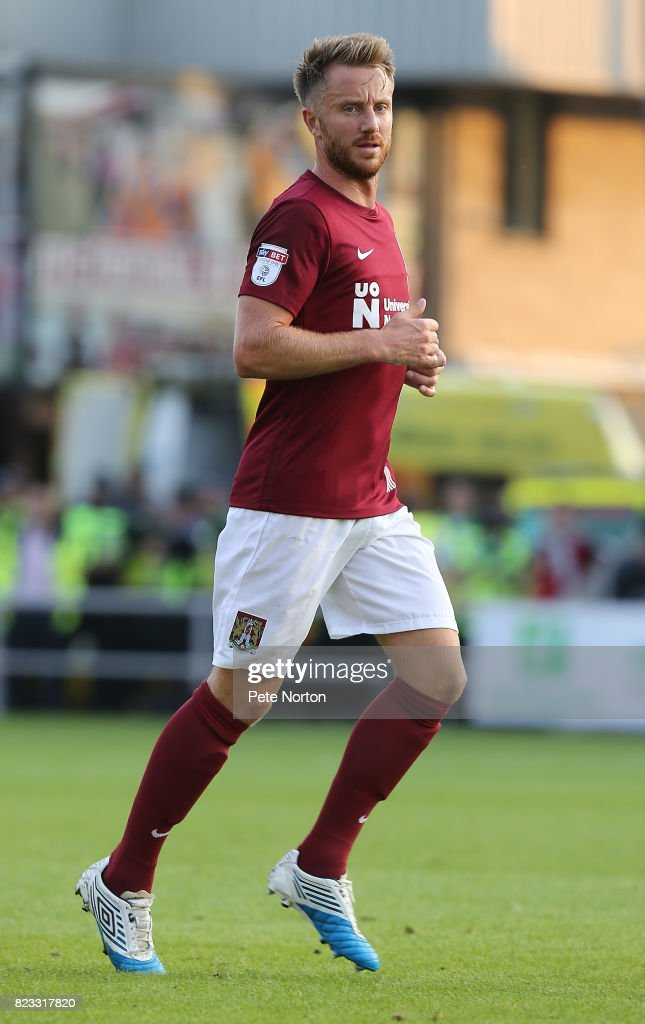 Dean Bowditch of Northampton Town in action during the Pre-Season Friendly match between Northampton Town and Derby County at Sixfields on July 25, 2017 in Northampton, England.