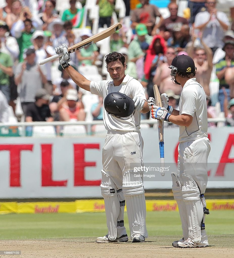 Dean Brownlie of New Zealand celebrates his century during day 3 of the 1st Test between South Africa and New Zealand at Sahara Park Newlands on January 04, 2013 in Cape Town, South Africa.