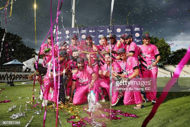Dean Brownlie of the Knights celebrates with the team after winning the Super Smash Grand Final match between the Knights and the Stags at Seddon...