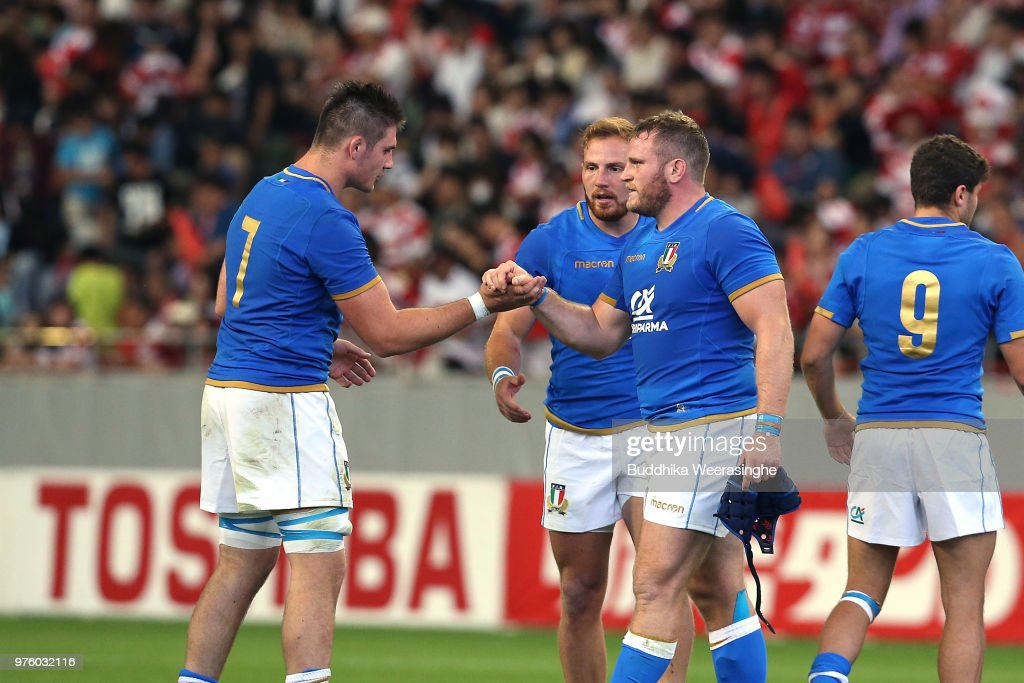 Dean Budd and Jake Polledri of Italy celebrate their 25-22 victory in the rugby international match between Japan and Italy at Noevir Stadium Kobe on June 16, 2018 in Kobe, Hyogo, Japan.