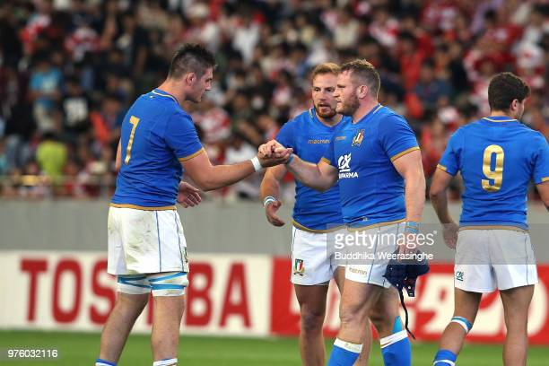Dean Budd and Jake Polledri of Italy celebrate their 2522 victory in the rugby international match between Japan and Italy at Noevir Stadium Kobe on...
