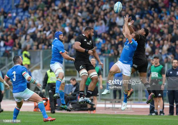 Dean Budd Ardie Savea Tommaso Benvenuti during the International Rugby match between the New Zealand All Blacks and Italy at Stadio Olimpico on...