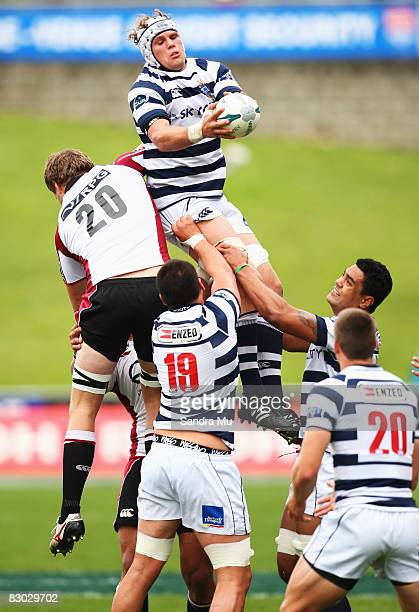 Dean Budd of Auckland takes the ball in the lineout during the Air New Zealand Cup match between North Harbour and Auckland at North Harbour Stadium...
