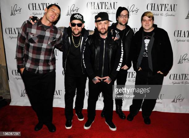 Dean Butterworth Joel Madden Benji Madden Billy Martin and Paul Thomas of Good Charlotte arrive at the Chateau Nightclub Gardens at the Paris Las...