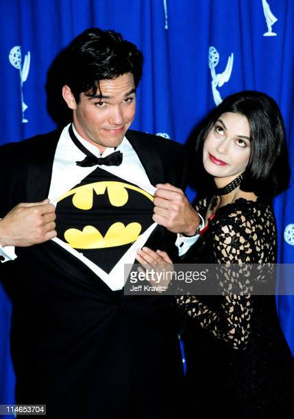Dean Cain and Teri Hatcher during 1993 Emmy Awards Press Room in Los Angeles CA United States