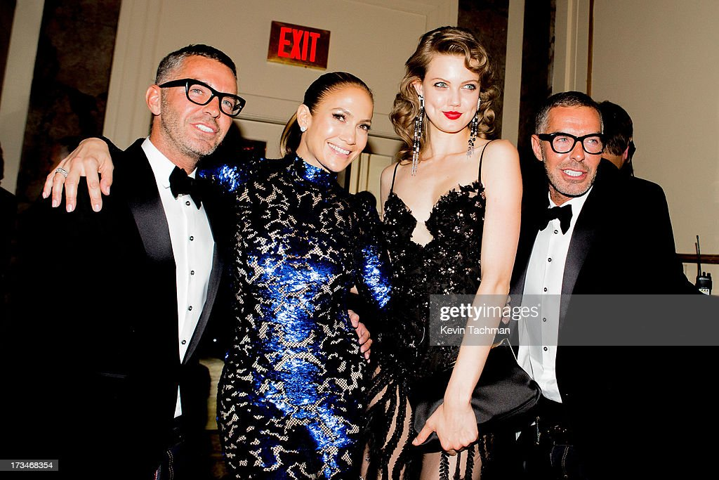 d3f580b8afd3 Dean Caten and Dan Caten of Dsquared2 pose with Jennifer Lopez and ...