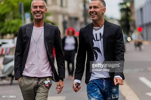 Dean Caten and Dan Caten outside Neil Barrett during the Milan Men's Fashion Week Spring/Summer 2017 on June 18 2016 in Milan Italy