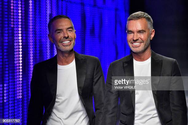 Dean Caten and Dan Caten walks the runway at the Dsquared2 show during Milan Men's Fashion Week Fall/Winter 2018/19 on January 14 2018 in Milan Italy