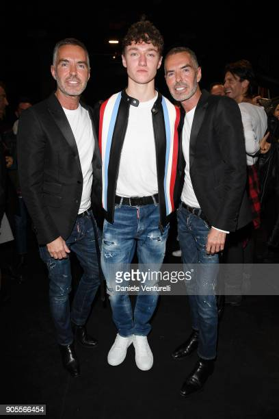 Dean Caten Harrison Osterfield and Dan Caten attend the Dsquared2 show during Milan Menswear Fashion Week Fall/Winter 2018/19 on January 14 2018 in...