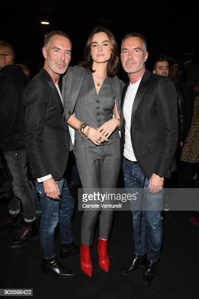 Dean Caten Kasia Smutniak and Dan Caten attend the Dsquared2 show during Milan Menswear Fashion Week Fall/Winter 2018/19 on January 14 2018 in Milan...