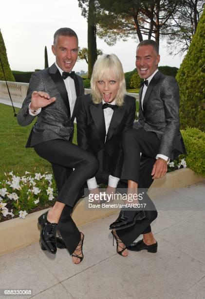 Dean Caten Marjan Jonkman and Dan Caten arrive at the amfAR Gala Cannes 2017 at Hotel du CapEdenRoc on May 25 2017 in Cap d'Antibes France