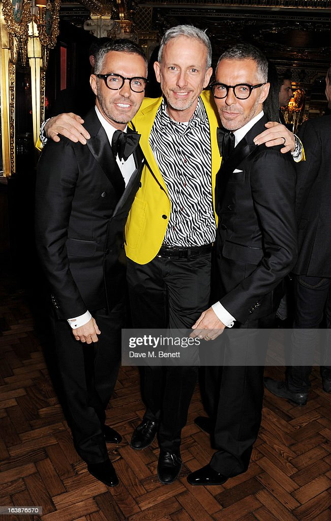 Dean Caten, Patrick Cox and Dan Caten attend a drinks reception celebrating Patrick Cox's 50th Birthday party at Cafe Royal on March 15, 2013 in London, England.