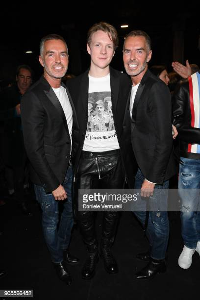 Dean Caten Patrick Gibson and Dan Caten attend the Dsquared2 show during Milan Menswear Fashion Week Fall/Winter 2018/19 on January 14 2018 in Milan...