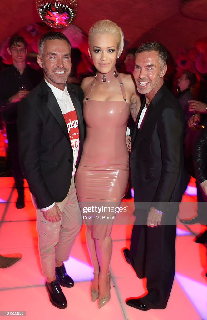 Dean Caten, Rita Ora and Dan Caten attend the Mert & Marcus House of Love party for Madonna at Annabel's on February 26, 2015 in London, England.