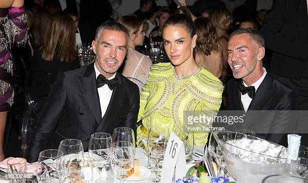 Dean Catern Alessandra Ambrosio and Dan Caten are seen at amfAR Milano 2015 at La Permanente on September 26 2015 in Milan Italy