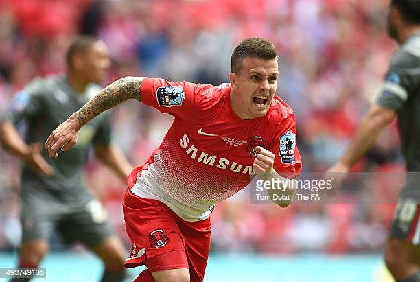 Dean Cox of Leyton Orient celebrates his goal during the Sky Bet League One Playoff Final match between Leyton Orient and Rotherham United at Wembley...