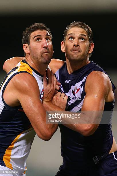 Dean Cox of the Eagles and Aaron Sandilands of the Dockers contest the ruck during the AFL practice match between the West Coast Eagles and the...