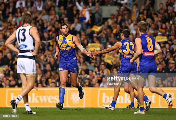 Dean Cox of the Eagles celebrates a goal during the round 20 AFL match between the West Coast Eagles and the Geelong Cats at Patersons Stadium on...