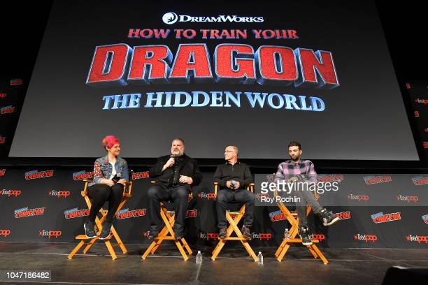 Dean DeBlois Brad Lewis and Jay Baruchel speak onstage at the How to Train Your Dragon The Hidden World panel during 2018 New York Comic Con Day 4 at...