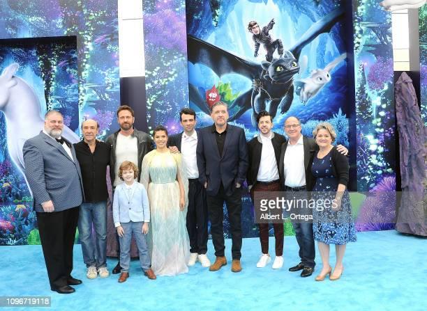 Dean DeBlois, F. Murray Abraham, Gerard Butler, AJ Kane, America Ferrera, Jay Baruchel, Brad Lewis, and Bonnie Arnold arrive for Universal Pictures...