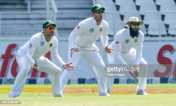 Dean Elgar AB de Villiers and Hashim Amla of South Africa during day 5 of the 4th Sunfoil Test match between South Africa and Australia at Bidvest...