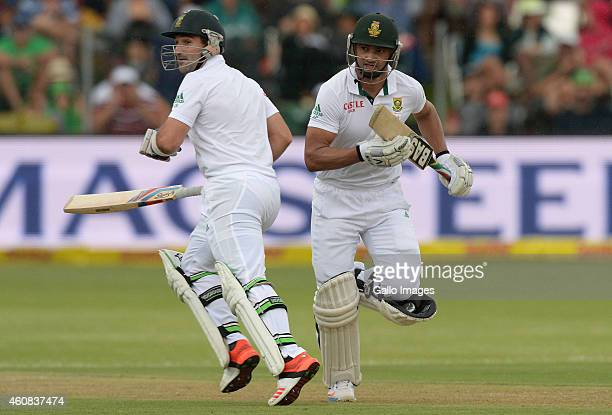 Dean Elgar and Alviro Petersen of South Africa during day 1 of the 2nd Test match between South Africa and West Indies at St Georges Park on December...