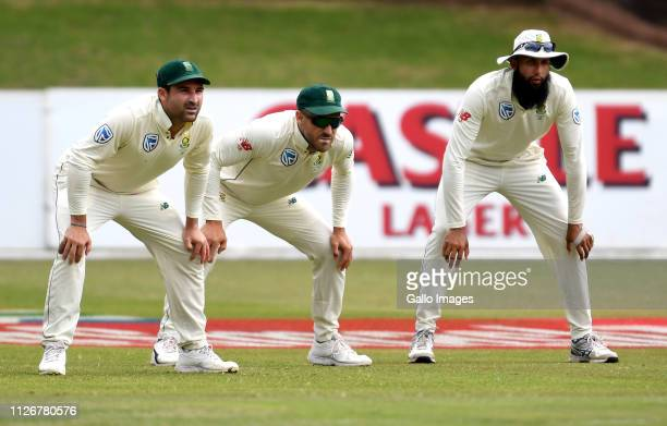 Dean Elgar Faf du Plessis and Hashim Amla of South Africa during day 3 of the 2nd Castle Lager Test match between South Africa and Sri Lanka at St...