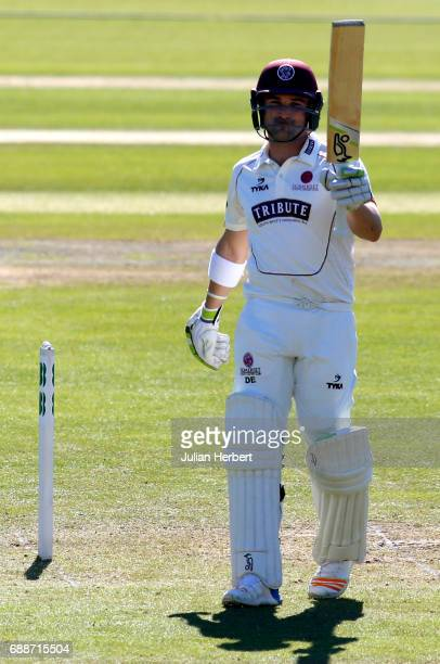 Dean Elgar of Somerset acknowledges his half century during Day One of The Specsavers County Championship Division One match between Somerset and...