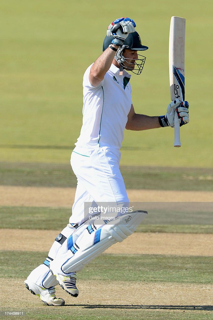 Dean Elgar of South Africa A celebrates his 200 runs during day 3 of the 1st Test match between South Africa A and Australia A at Tuks Oval on July 26, 2013 in Pretoria, South Africa.