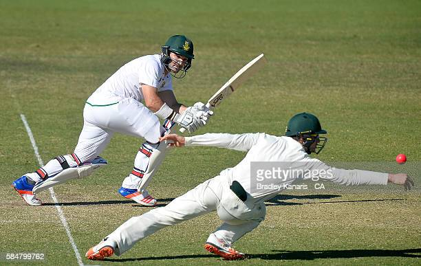 Dean Elgar of South Africa A gets the ball past the fielder during the Winter Series between Australia A and South Africa A at Allan Border Field on...
