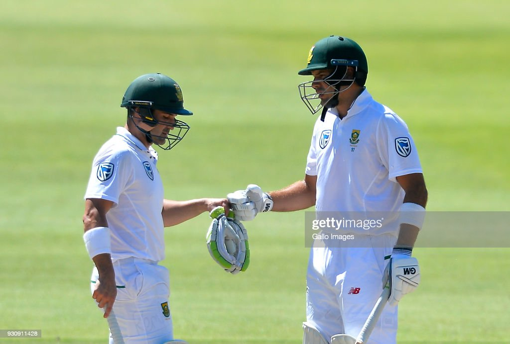 Dean Elgar of South Africa and Aiden Markram of South Africa during day 4 of the 2nd Sunfoil Test match between South Africa and Australia at St Georges Park on March 12, 2018 in Port Elizabeth, South Africa.