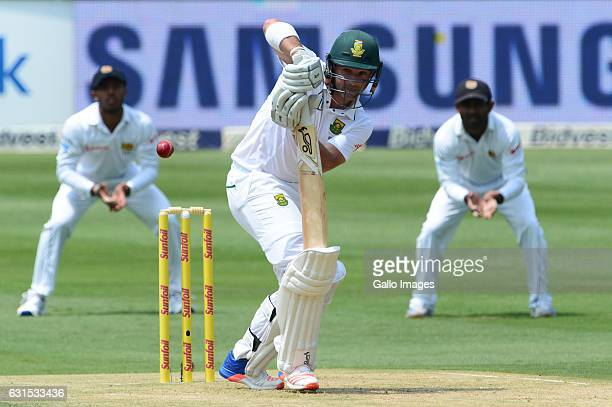 Dean Elgar of South Africa bats during day 1 of the 3rd test between South Africa and Sri Lanka at Bidvest Wanderers Stadium on January 12 2107 in...