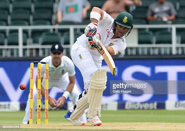 Dean Elgar of South Africa bats during day 1 of the 3rd Test match between South Africa and England at Bidvest Wanderers Stadium on January 14 2016...